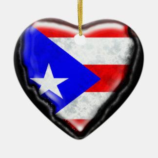 プエルトリコの旗のハート セラミックオーナメント