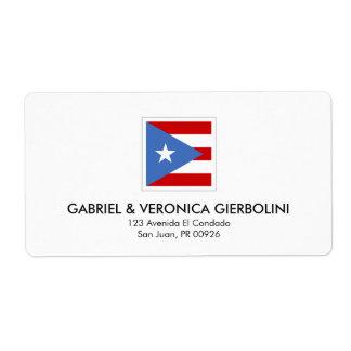 プエルトリコの旗のモダンの正方形 ラベル