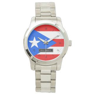 プエルトリコの旗の名前をカスタムする リストウォッチ