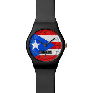 プエルトリコの旗の名前をカスタムする リストウオッチ