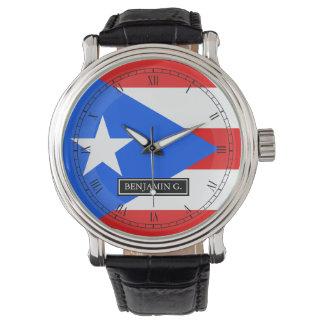 プエルトリコの旗の名前をカスタムする 腕時計