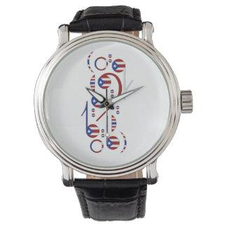 プエルトリコの旗の音符の腕時計 腕時計