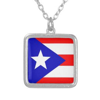 プエルトリコの旗 シルバープレートネックレス