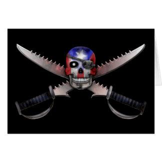 プエルトリコの旗-スカルおよび交差させた剣 カード