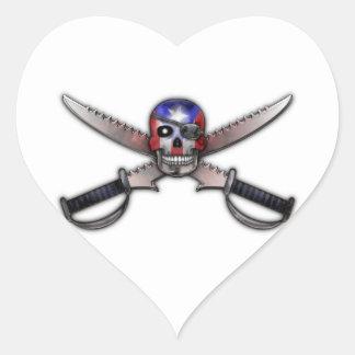 プエルトリコの旗-スカルおよび交差させた剣 ハートシール
