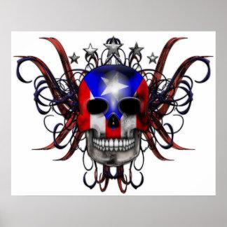 プエルトリコの旗-スカル ポスター