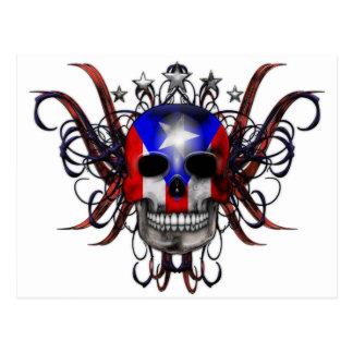 プエルトリコの旗-スカル ポストカード
