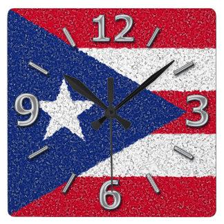 プエルトリコの旗 スクエア壁時計