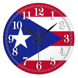 プエルトリコの旗 ラージ壁時計
