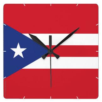 プエルトリコの明白な旗 スクエア壁時計