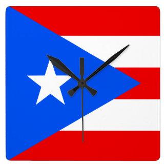 プエルトリコの時計の旗 スクエア壁時計