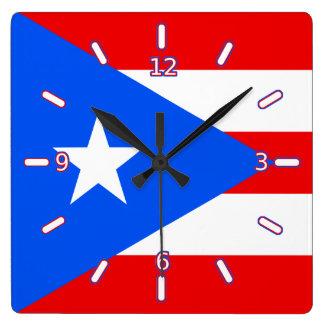 プエルトリコの時計の旗(数と) スクエア壁時計