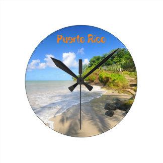 プエルトリコの熱帯島 ラウンド壁時計