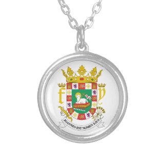 プエルトリコの紋章付き外衣 シルバープレートネックレス