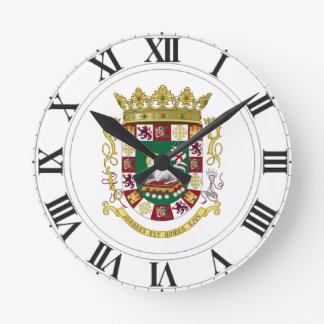 プエルトリコの紋章付き外衣 ラウンド壁時計