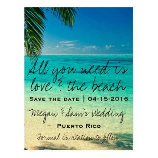 プエルトリコの行先の結婚式の保存日付 ポストカード