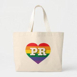 プエルトリコゲイプライドの虹のハート-大きい愛 ラージトートバッグ