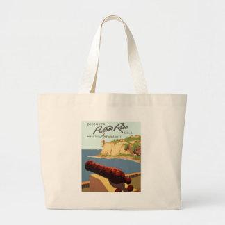 プエルトリコポスターを発見して下さい ラージトートバッグ