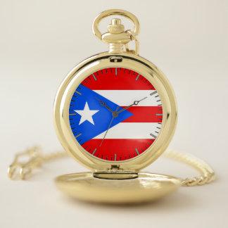 プエルトリコ、米国の愛国心が強い壊中時計の旗 ポケットウォッチ