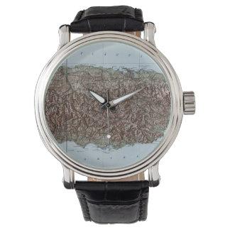プエルトリコ(1952年)のヴィンテージの地図 腕時計
