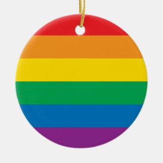 プライド|のカラフルな虹のデザイン セラミックオーナメント