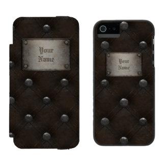 プラクが付いている散りばめられた革装甲 iPhone SE/5/5sウォレットケース