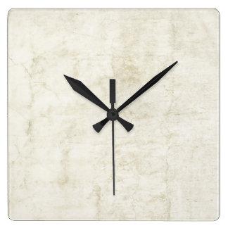 プラスターアンティークの紙のテンプレートのブランクのニュートラル スクエア壁時計