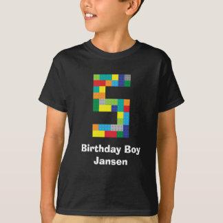 プラスチックおもちゃの煉瓦第5誕生日 Tシャツ