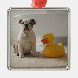 プラスチックアヒルが付いているマットの犬 メタルオーナメント
