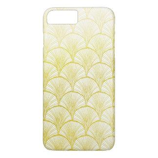 プラスレトロのアールデコの金ゴールドファンのiPhone 7 + 場合 iPhone 8 Plus/7 Plusケース