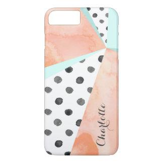 プラス珊瑚の水彩画の名前色のブロックのiPhone 7 iPhone 8 Plus/7 Plusケース