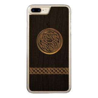 プラス青銅色のケルト結び目模様の黒の木製のiPhone 6 Carved iPhone 8 Plus/7 Plus ケース