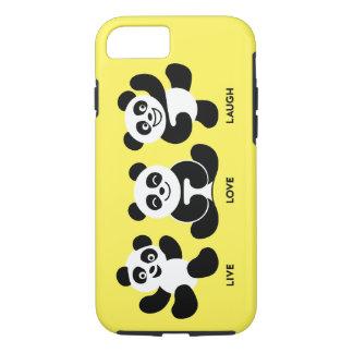 プラス3頭のパンダのiPhone 7堅い場合を黄色にして下さい iPhone 8/7ケース