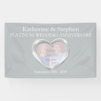 プラチナ結婚記念日のハートの写真の旗 横断幕