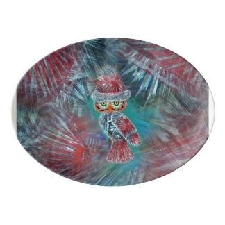 プラットに役立っているクリスマスの魅力のファッションのサンタのフクロウ 磁器大皿