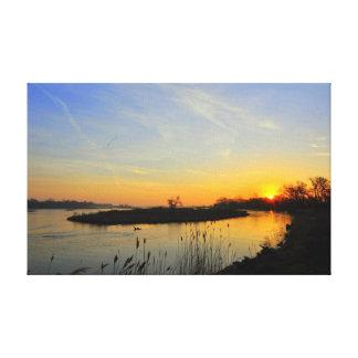 プラット川のキャンバスプリントの日の出 キャンバスプリント