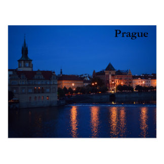 プラハの郵便はがき上の夜 ポストカード