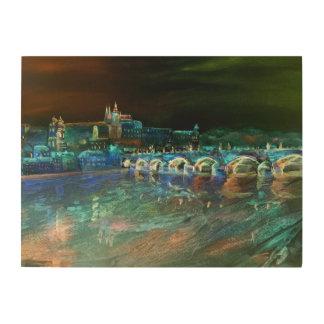 プラハ上の夜空 ウッドウォールアート