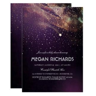プラムおよび金ゴールドの流星の星明かりのベビーシャワー カード