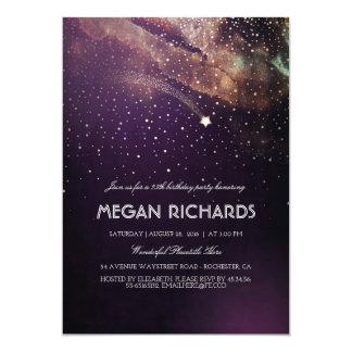 プラムおよび金ゴールドの流星の星明かりの誕生会 カード