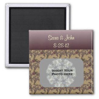 プラムによってブラウンは結婚式の写真の磁石が開花します 冷蔵庫マグネット