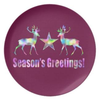 プラムクリスマスのトナカイの季節の挨拶 プレート