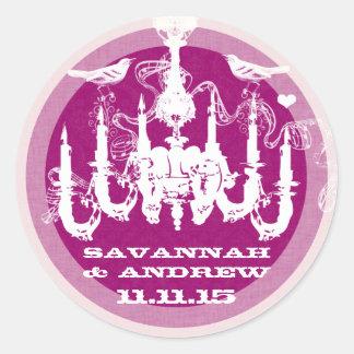 プラム及び薄紫のヴィンテージ愛鳥のシャンデリア ラウンドシール
