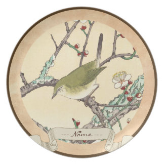 プラム枝向こうずねのhangaの日本人の芸術のJoの鳥 プレート