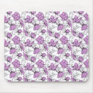 プラム紫色および灰色のヴィンテージの花柄パターン マウスパッド