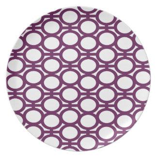 プラム紫色および白いアイレット プレート