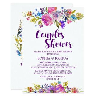 プラム紫色のピンク及び青い花のカップルのシャワー カード