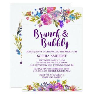 プラム紫色のブランチおよび快活なブライダルシャワーの招待 カード