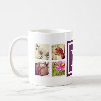 プラム紫色のモノグラムのInstagramの写真のコラージュのマグ コーヒーマグカップ