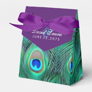 プラム紫色の孔雀の結婚式 フェイバーボックス